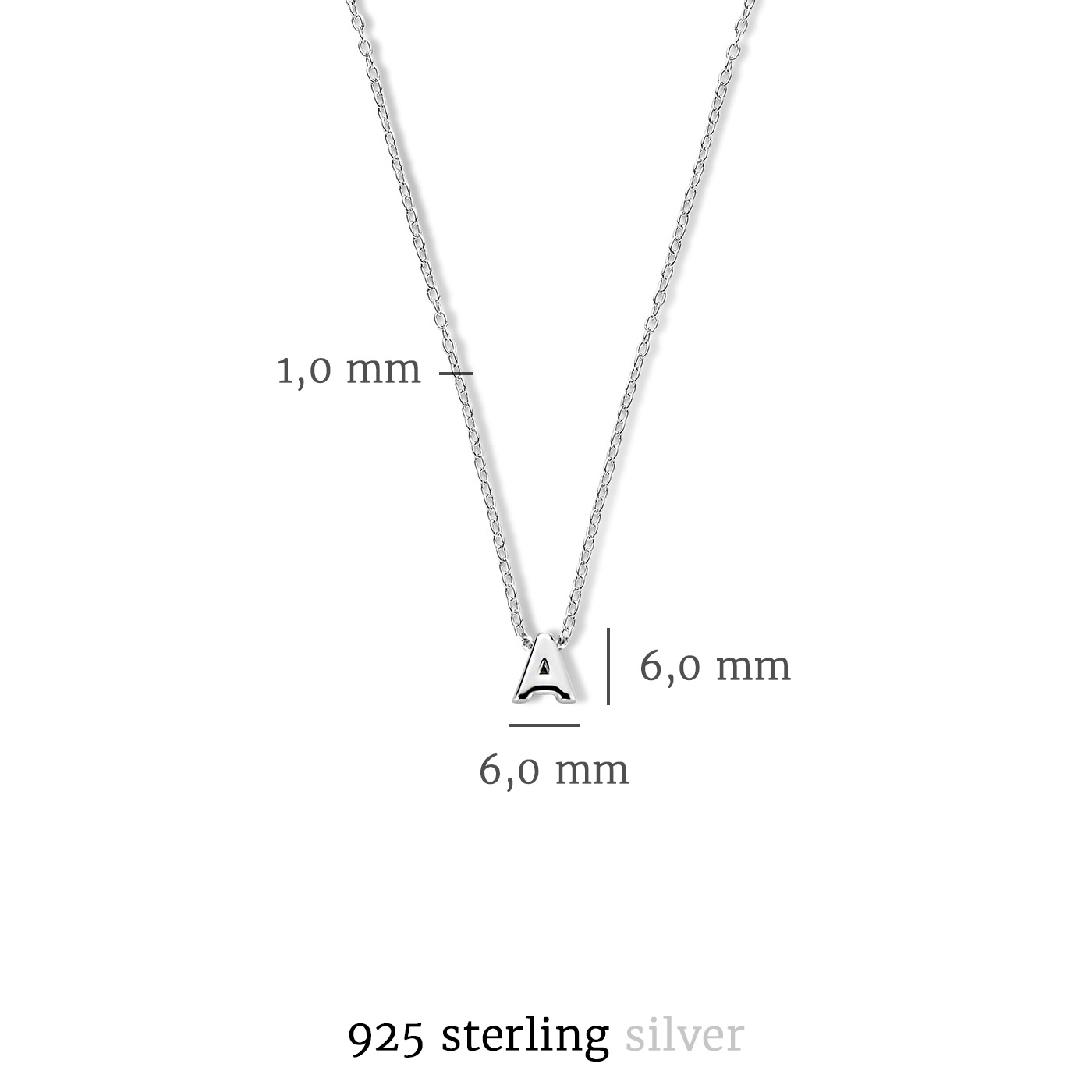 Selected Jewels Julie Chloé 925 sterling silver initial necklace with letter