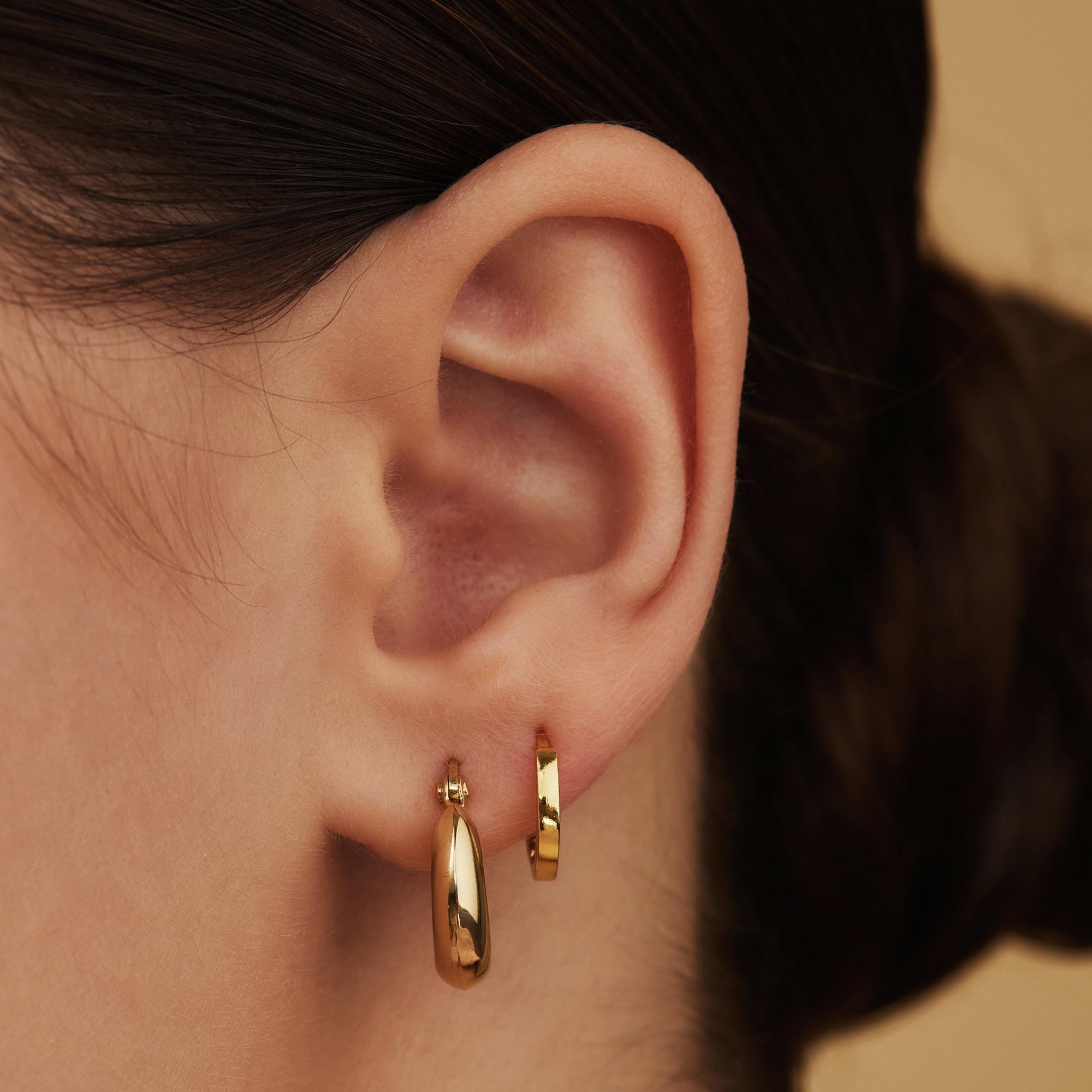 Selected Jewels Selected Gifts 925 sterling zilveren goudkleurige set van 2 paar oorbellen