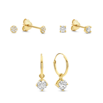 Selected Jewels Selected Gifts 925 sterling silver gold colored earrings set