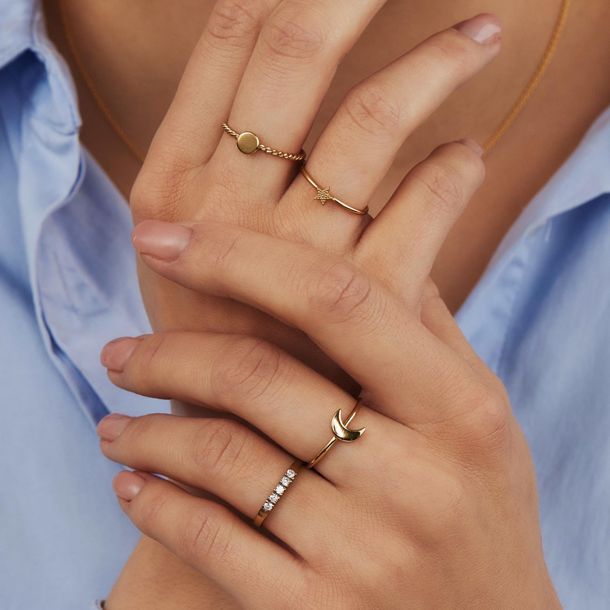 Selected Jewels Julie Belle 925 sterling zilveren goudkleurige ring