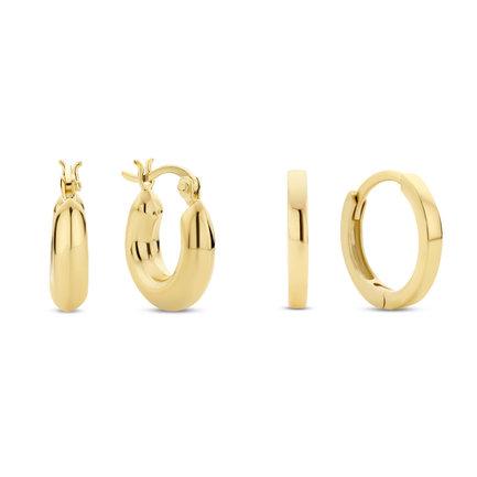 Selected Jewels Selected Gifts 925 sterling zilveren goudkleurige set oorbellen