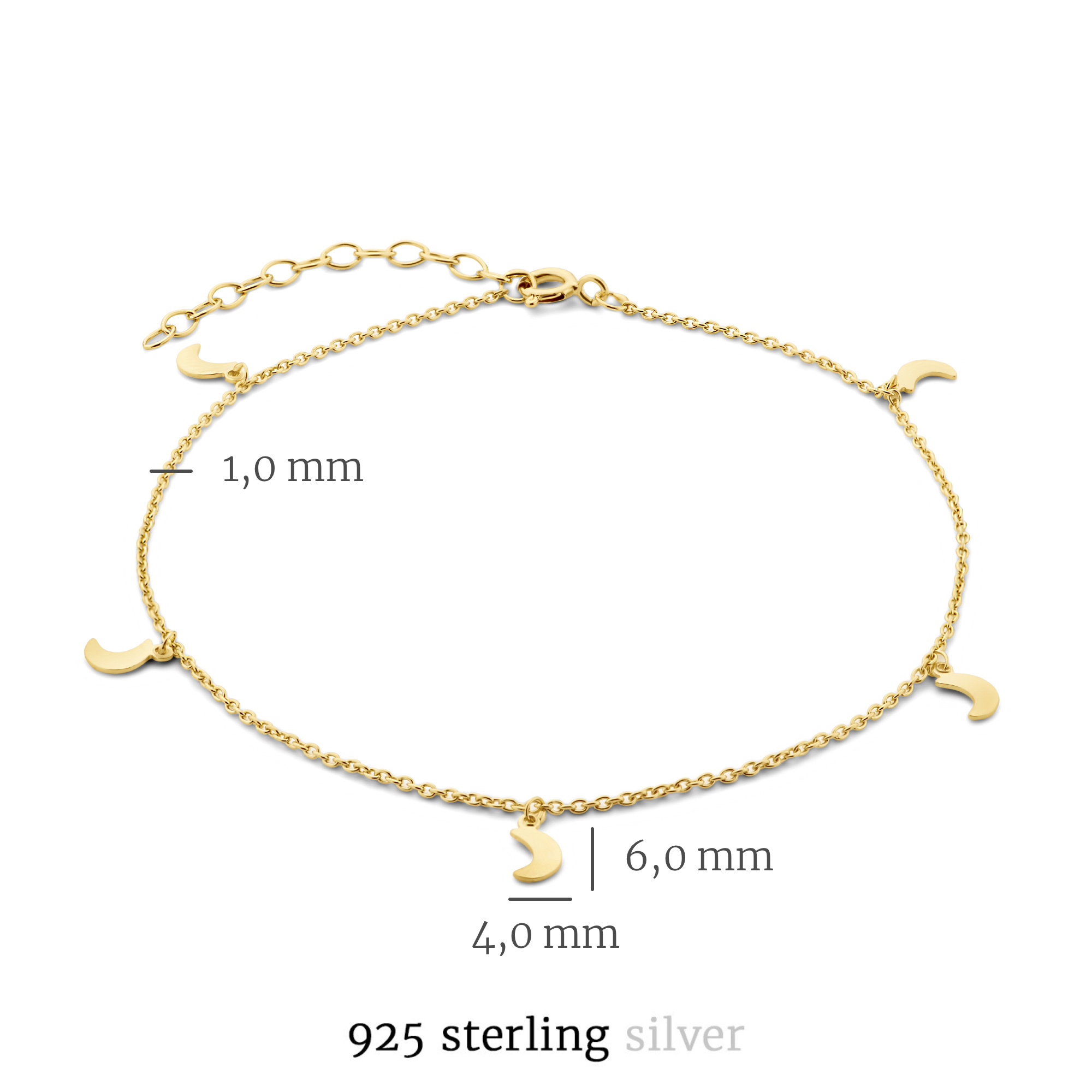 Selected Jewels Julie Louna cavigliera color oro in argento sterling 925