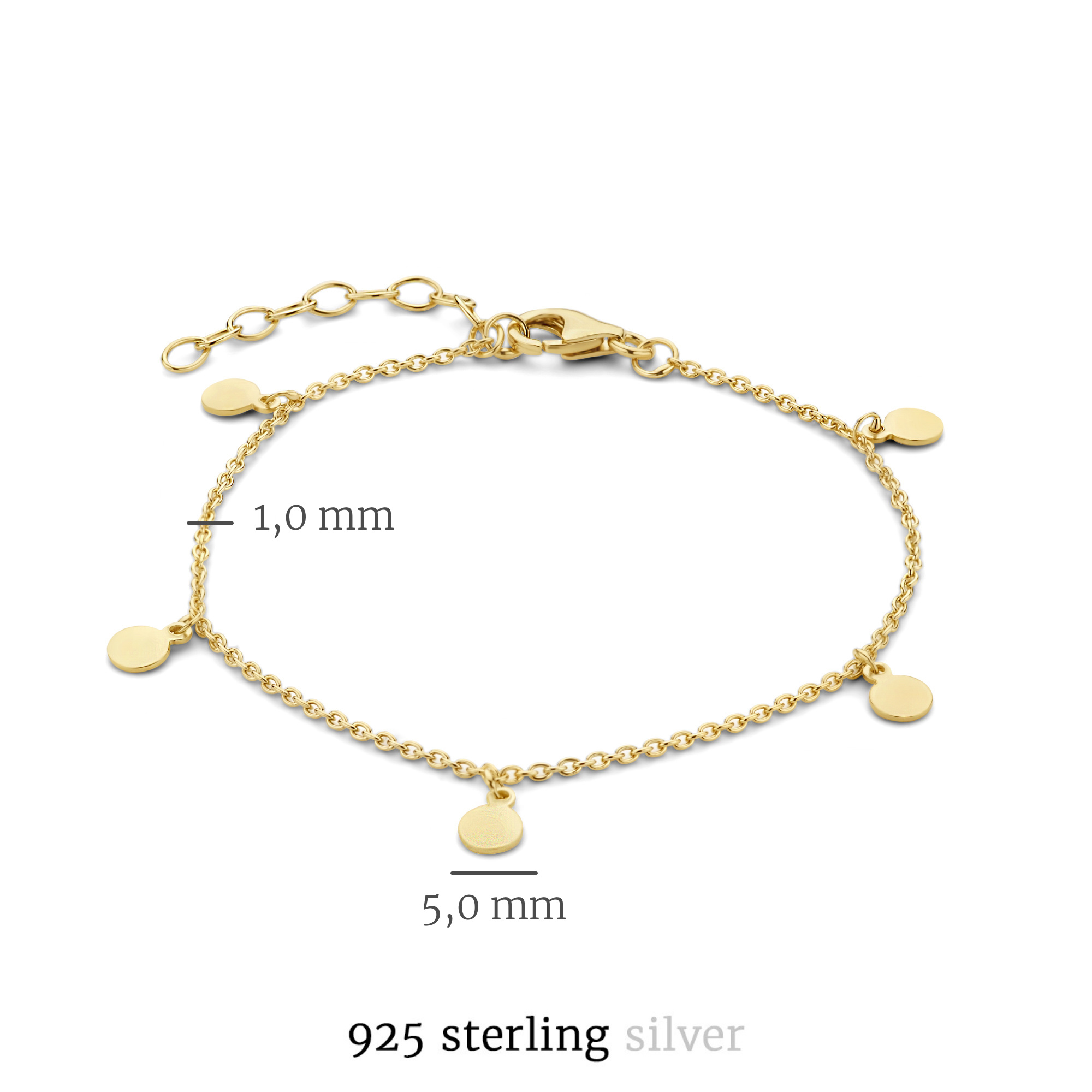 Selected Jewels Julie Belle 925 sterling zilveren goudkleurige armband