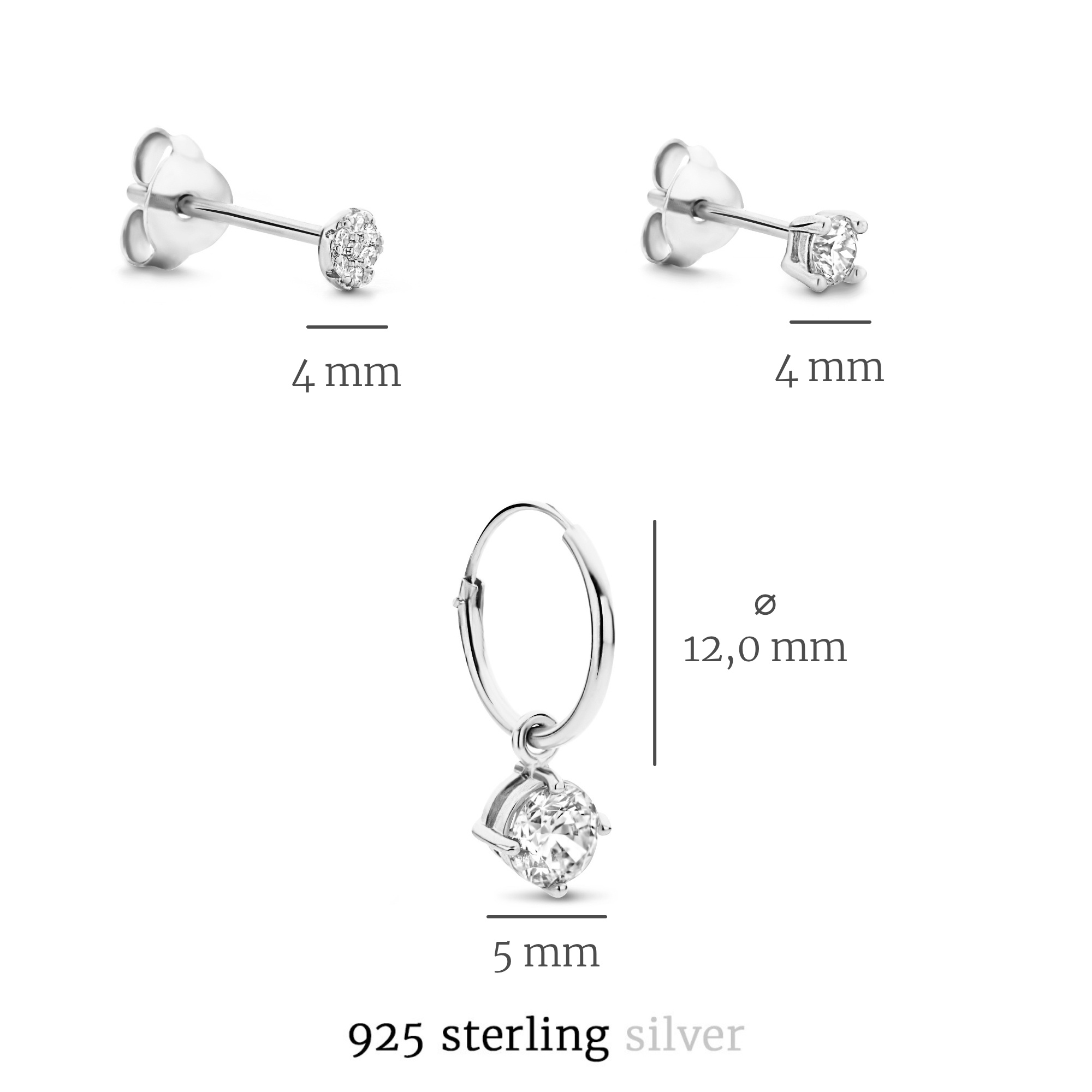 Selected Jewels Selected Gifts 925 sterling silver set of 3 pairs of earrings