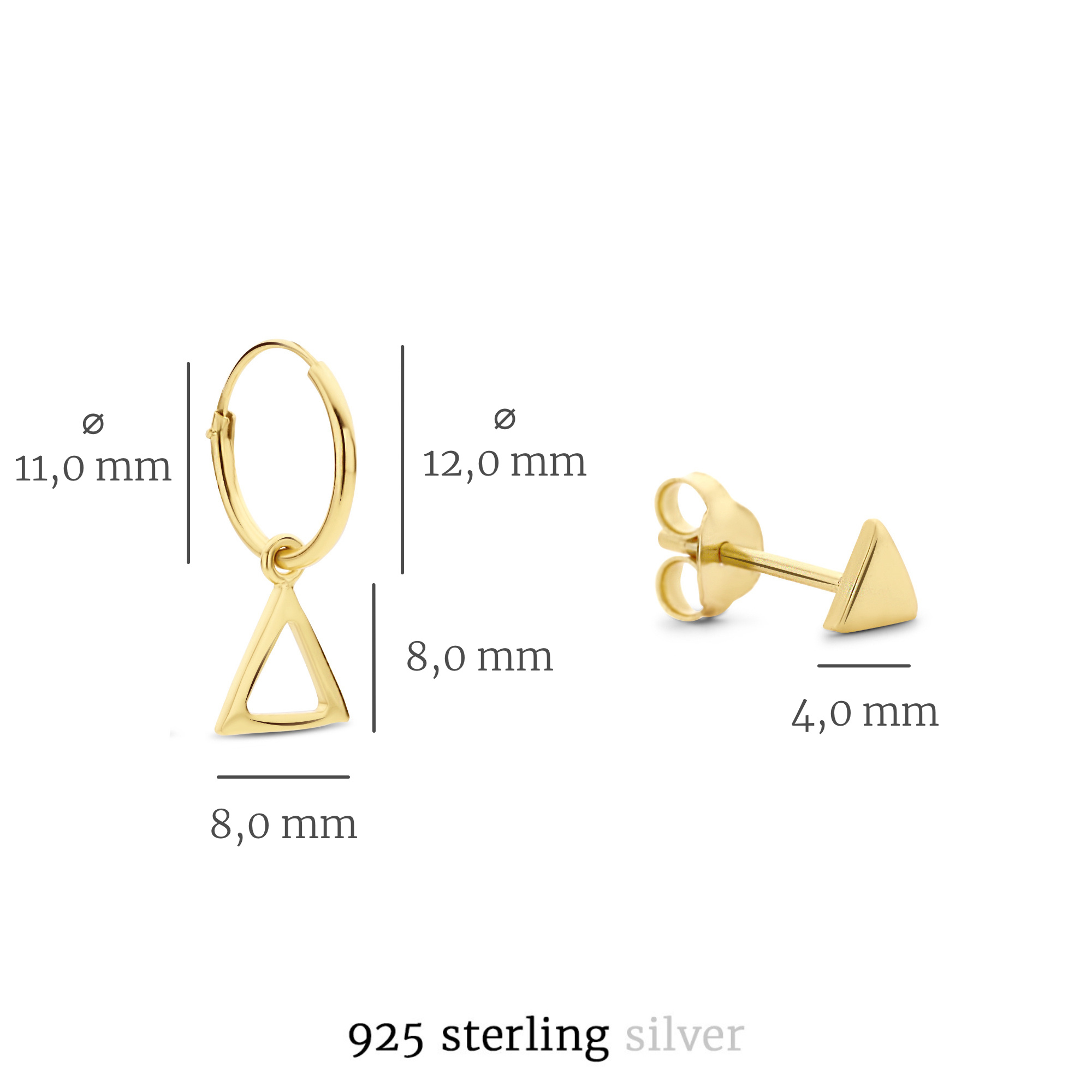 Selected Jewels Selected Gifts 925 Sterling Silber goldfarbenes Satz Ohrringe