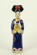 Blauwe Keizerin Chinees beeldje Porselein