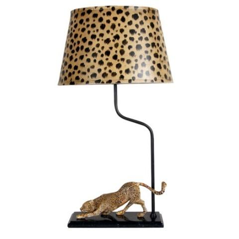 Cheetah Lamp Goud/zwart, Excl. Kap cl. Kap