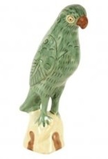 Papegaai Beeldje , Licht Groen Maten  Porselein Maten; 25x11x7cm Porselein en koper