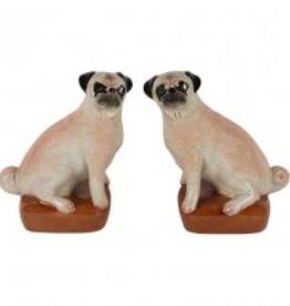 Mops Hondjes Boekensteun ,set van 2 stuks, Porselein