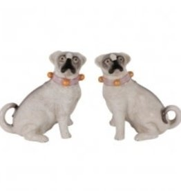Mops hondjes met Oranje halsband Set van twee