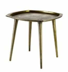 Pols Potten Pols Potten vierkant goudkleurig aluminium bijzettafeltje