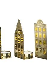 Pols Potten Pols Potten Waxinelicht canalhouses gold lightSet van 3