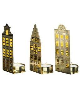 Pols Potten Pols Potten Waxinelicht canalhouses gold light Set van 3