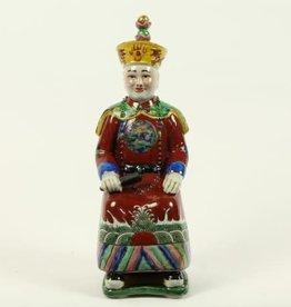 Zittende Keizer Chinees beeldje,Porselein Bruin
