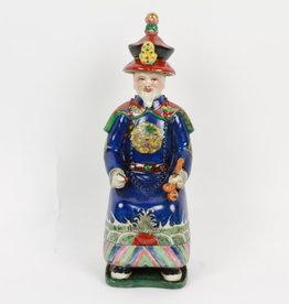 Zittende Keizer Chinees beeldje,Porselein Blauw