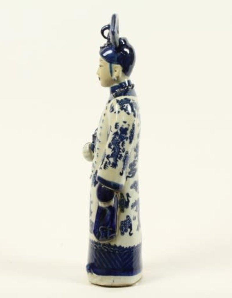 Keizerin met pijp beeldje ,Porselein Blauw/wit