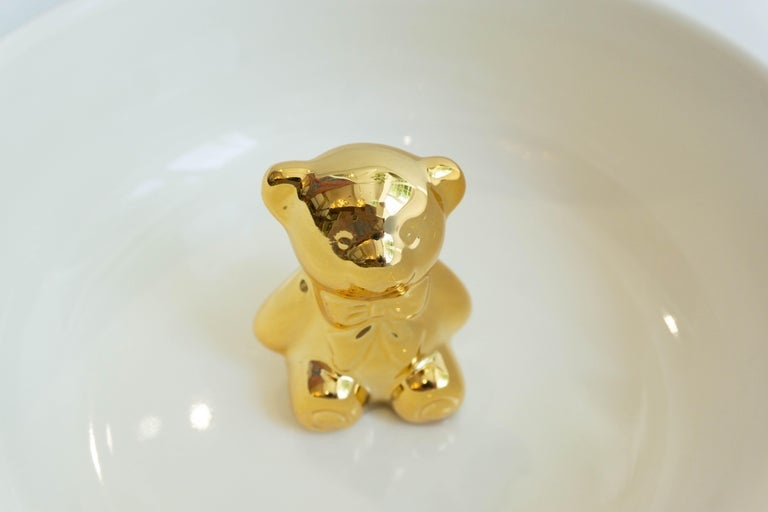 Pols Potten Pols Potten Porseleinen kom met goudkleurig beertje