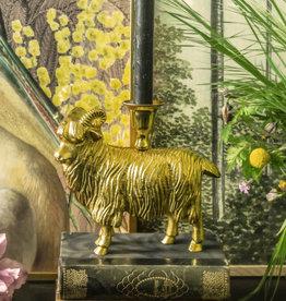 Goudkleurige kaarsenstandaard in de vorm van een schaap