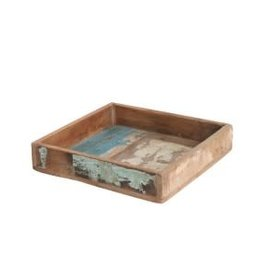 Scrapwood square tray S  20x20x6 cm