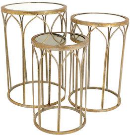 Art Deco Metalen bijzettafels .Set van drie