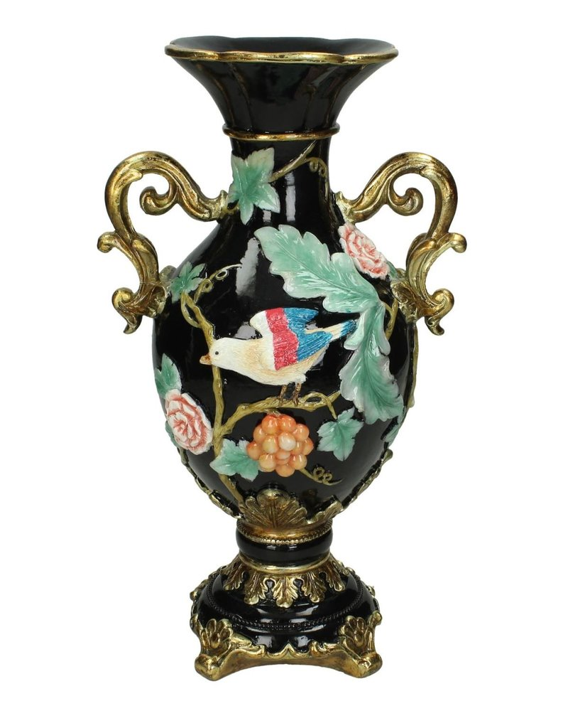 Vaas met Vogel Afbeelding  H32cm