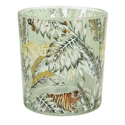 Glazen Waxine Windlicht Jungle 7.5x7.5x8cm