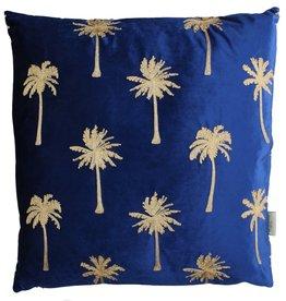 Fluwelen kussen met Palmbomen Blauw