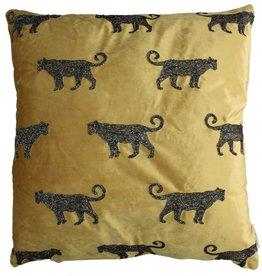 Fluwelen kussen Goud met Luipaard  Incl.binnenkussen