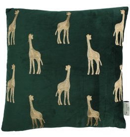 Fluwelen kussen Groen met Giraffen  Incl.binnenkussen