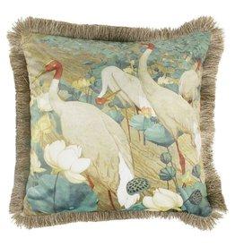 Kussen Fluweel met Witte Kraanvogels  incl.binnenkussen
