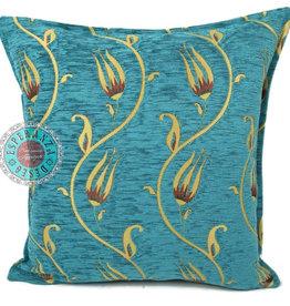 Boho Esperanza Kussens Boho kussen Flower string Turquoise/geel 45x45cm