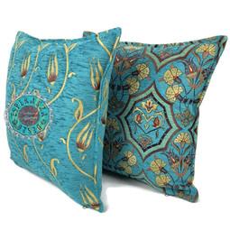 Boho Esperanza Kussens Boho kussen Flower string Turquoise/geel 45x45 incl.binnenkussen