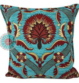 Boho Esperanza Kussens Boho kussen Red Flower Turquoise 45x45cm