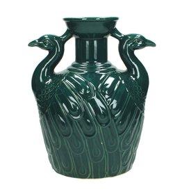 Petrol Vaas van Keramiek met Vogelkoppen
