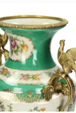 Vaas van keramiek met Vogels kleur Groen  31x19x41cm
