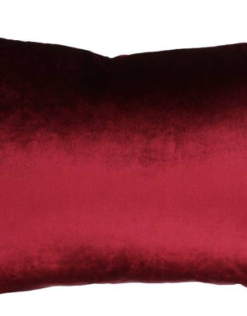 Fluwelen Kussen Bordeaux met Bloemmotieven  40x60cm Incl.binnenkussen