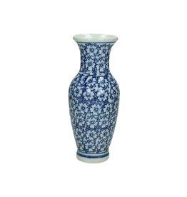 Porseleinen Vaas Delftsblauw met Bloemen