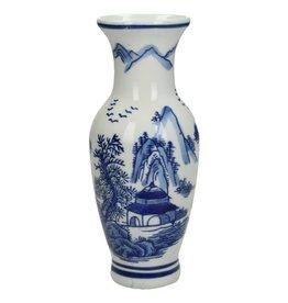Delftsblauwen Porseleinen Vaas met Bergen