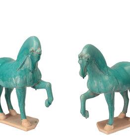 Groot Porseleinen Paard Turquoise