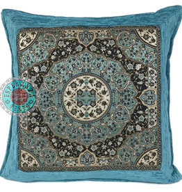 Boho Esperanza Kussens Boho kussen Mandala Round Turquoise 45x45 incl.binnenkussen