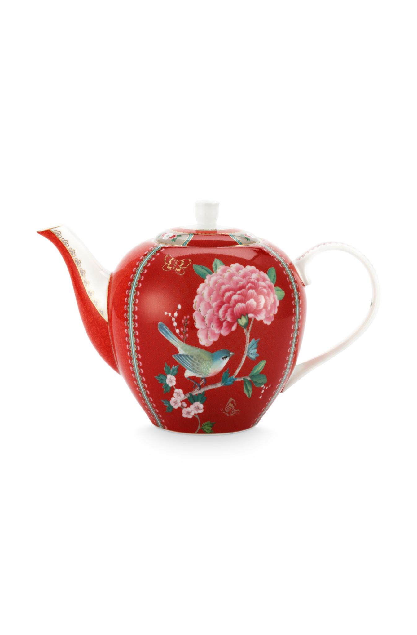 Pip Studio Tea Pot Large Blushing Birds Red  1.6ltr