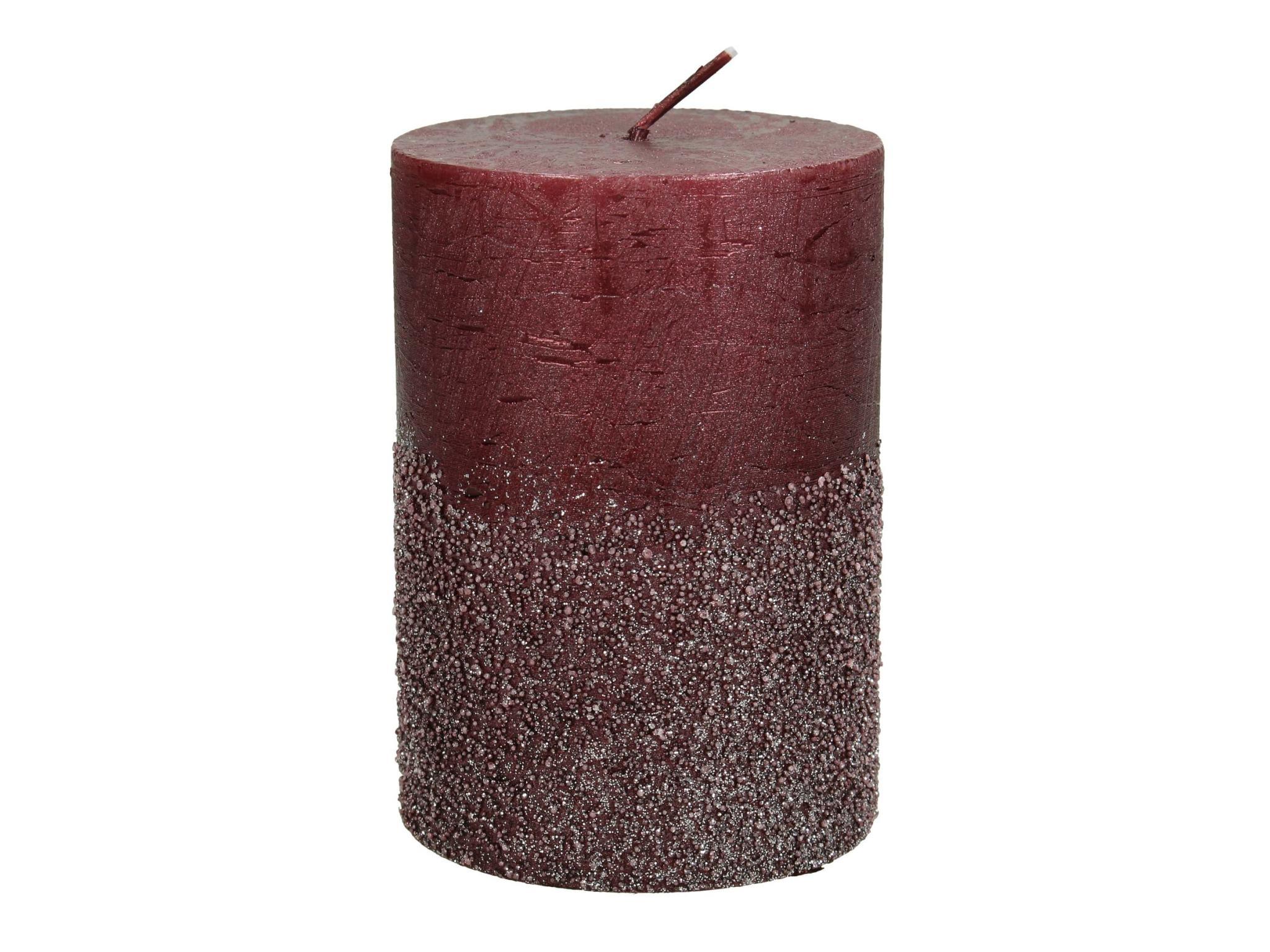 Sierkaars met Glitters Bordeaux  7x7x10cm