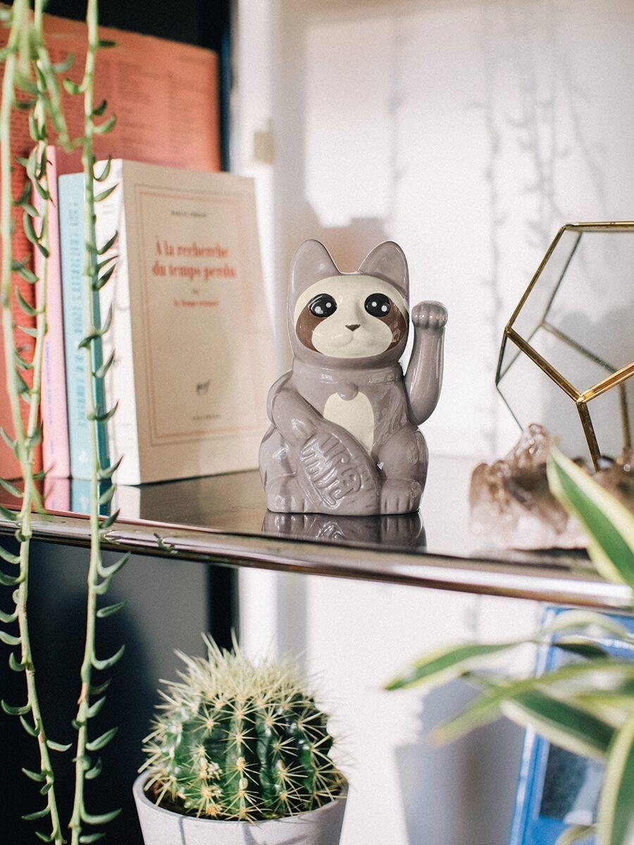 Doiy Lucky Cat Keramiek Sloth Cat Grijs 9x10x15 cm