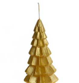 Rustik Lys Kerstboom Kaars Goud 6.3x12cm