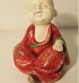 Kwan Yin Zittende, lachende en luisterende Baby monnik
