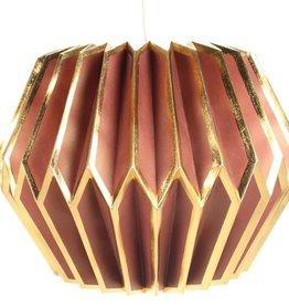 Meander Papieren Lamp Roze/Goud Ø38xH27cm Incl.pendel