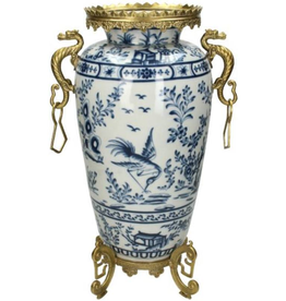 Vaas  Chinoiserie met Gouden Draken handvatten Delfts blauw