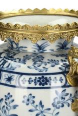 Vaas Chinoiserie met Gouden Draken handvatten Delfts blauw van Fijn Aardewerk  27x19.5x41cm