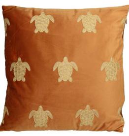 Fluwelen kussen met Schildpadjes Terra Incl.binnenkussen