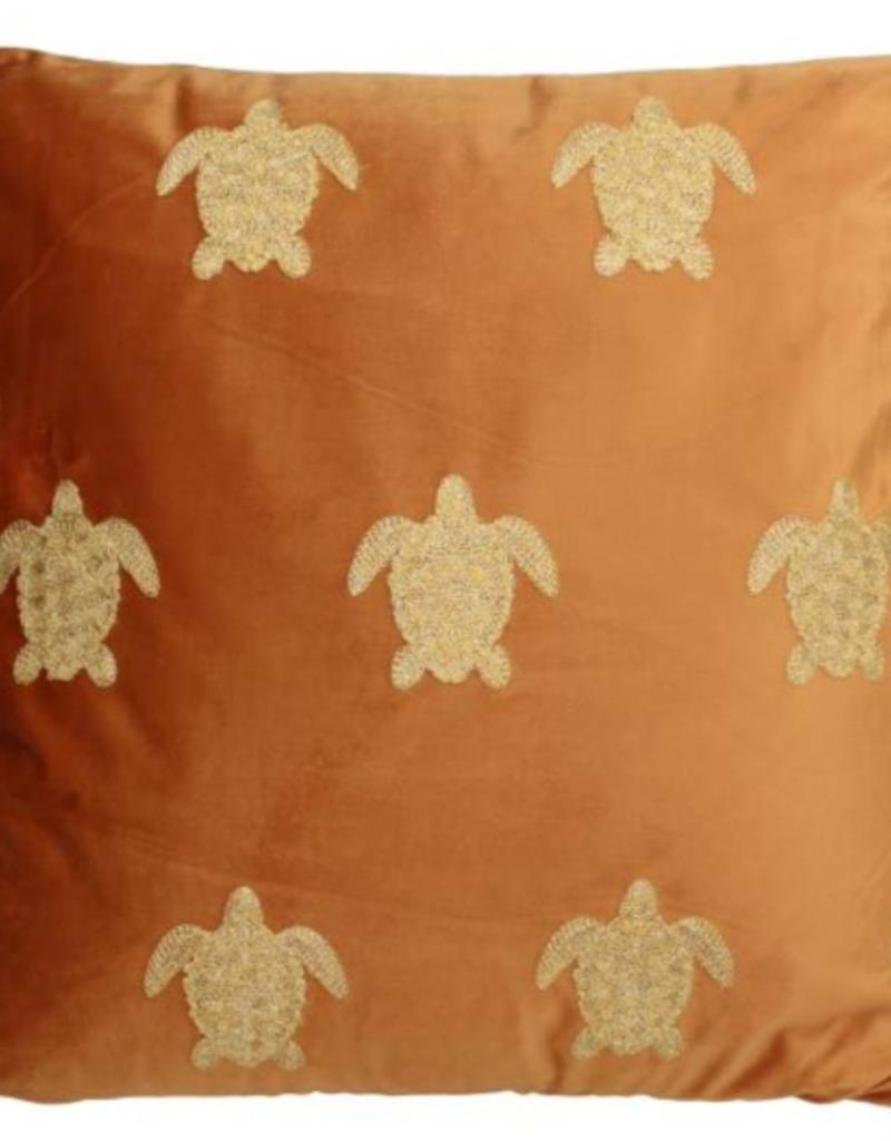 Fluwelen kussen met Schildpadjes Terra Incl.binnenkussen  45x45cm